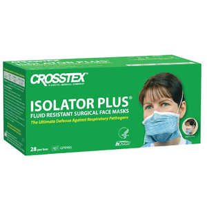 Isolator Plus N95 Particulate Respirator Mask Blue with White Stripes 28/box