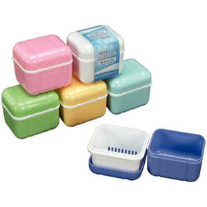 Denture Carebath with Rinsing Basket Asstd Colors 12/box