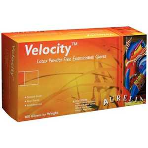 Aurelia Velocity Triple Washed Latex Exam Glove Powder Free Polymer Coating 100/box