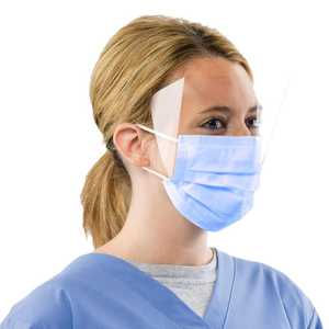 Earloop Anti-Fog Face Mask with 1/2 Face Shield Level 3 25/Pkg