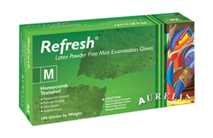 Aurelia Refresh MINT Latex Exam Gloves Powder Free Teal 100/box
