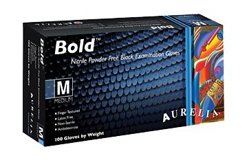 Aurelia Bold Black Nitrile (Non Latex) Powder Free Examination Glove 100/box