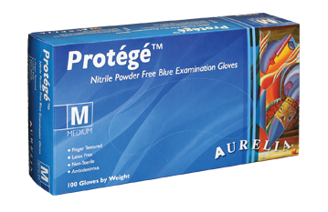Aurelia Protege Stretch Nitrile Gloves Powder Free Sky Blue 100/box